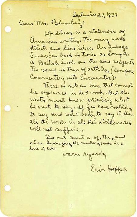 Hoffer letter